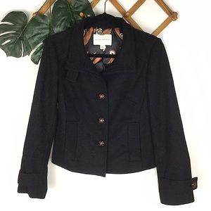 Banana Republic Black Wool Cropped Peacoat Small